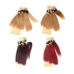 hair dye hairstyles Coupons - Fashion Hair Weaves New Hairstyle Ombre Human Hair Bundles With Top Closure Hair Swirl Straight Brazilian Colored Extensions 190-235g Lot