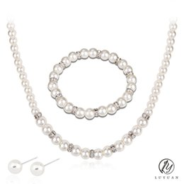 Wholesale Jade Ball Necklace - Charming Simulated Pearl Wedding Accessories Elegant Pearl Crystal Necklace Bracelet Jewerly Set Fashion Ball Stud Earrings 20%