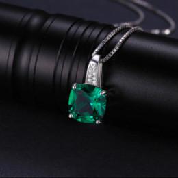 JewelryPalace Cushion 3.4ct creado esmeralda collares colgantes de plata 925 joyas para mujeres accesorios no incluyen una cadena desde fabricantes