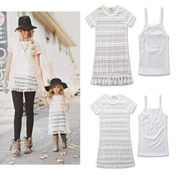 Wholesale Mother Daughter T Shirts - Mother And Daughter Clothes Mommy And Me Matching Family Outfits Women Condole Belt T Shirt+Tassel Short Sleeve Dress 2PCS Family Look