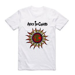 Wholesale Metal Alice - Asian Size Men And Women Print Alice In Chains Sun Fashion T Shirt O-Neck Short Sleeve Summer Heavy Metal Band T-shirt HCP987