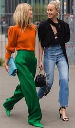 Pantalon large vert en Ligne-PADEGAO vert long pantalon large pour femme élégant pantalon décontracté en vrac sur la taille 2018 haute qualité des vêtements féminins y1891705