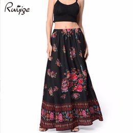 Wholesale Boho Print Maxi Skirt - 2017 Boho Beach High Waist Long Skirts Women Vintage Floral Print Skirt Chiffon Retro Empire Bohemian Plus Size Maxi Faldas