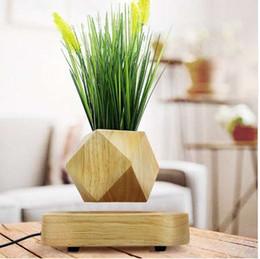 decoração levitação magnética Desconto Levitação magnética de madeira vaso de flores de decoração para casa Pote de Flores íons Negativos purificar o ar flutuante vasos com plantas artificiais