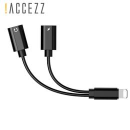 convertidor universal usb móvil Rebajas ! ACCEZZ 2 en 1 adaptador de audio de carga de doble iluminación para iphone 7 8 Plus X Adaptador de teléfono Cargador Conector de cable auxiliar
