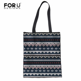 striped cotton canvas tote bags Promo Codes - FORUDESIGNS Women Striped Pattern Shoulder Bag Girls Shopping Bag Travel Portable Beach Reusable Cotton Tote Handbags