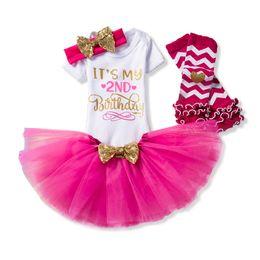 Ropa de los segundos online-Vestido de bebé recién nacido Ropa de fiesta para niños 2 años Ropa de niña Boutique Ropa de bebé segundo cumpleaños Tutu Outfits vestidos de s