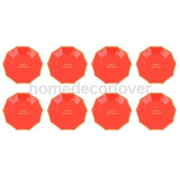 Wholesale Catering Plates - 8 Pieces Bright Paper Plates Dishes Happy Adults Kids Birthday Party Dinner Tableware Catering Supply