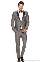 pant morning wedding Australia - Blazers For Men Suits Custom Made Men's Fashion Wedding Morning Groom Gray Tuxedos Business Prom Cheap 3 Piece Jacket Pants tie