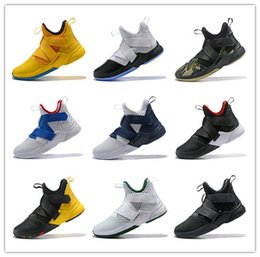 Wholesale blue minerals - Various styles LeBron Soldier 12 mens basketball shoes White Midnight Navy-Mineral Yellow mens designer sneakers AO4054-100