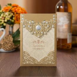 Canada Nouvel or Laser Cut creux invitations Apophysis creux cartes pour l'engagement d'affaires anniversaire Sweet 15 Quinceanera Inviter des invitations de mariage Offre