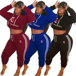 efaab82d90c crop hoodie Canada - Women Champions Letter Sweatsuit Long Sleeve Hoodies  Tracksuit Crop Top + Pants