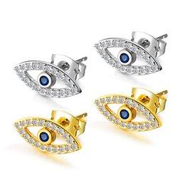 Avrupa Ve Amerika Birleşik Devletleri Moda Stil Mavi Gözler Zirkon Küpe Nazar Retro Retro Dalga Kaplama 18 K Altın Renk Altın Küpe Kadın supplier evil earrings nereden kötü küpeler tedarikçiler