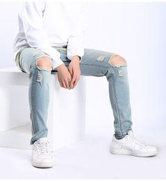 Jean gros trou au genou en Ligne-Kanye West Jeans Aux Genoux Grands Trous Design Pantalon Coupe Longue Coupe Slim Denim Blue Vintage Pantalon Délavé High Street