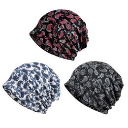 Motif bonnet en coton en Ligne-Nouveau mode à la mode de fleurs de noix de cajou imprimé coton doux haricot beanie chapeau