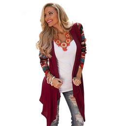 Женщины aztec кардиган онлайн-Cardigan Women Sweater 2017 Fashion Aztec Long Sleeve Stripe Tops Casual Long Cardigans Air Conditioning Asymmetrical Shirt