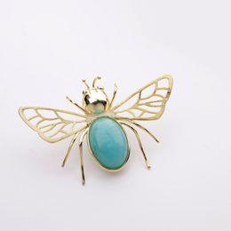sterling silber insekt schmuck Rabatt HJ HeyJewel 925 Sterling Silber Natürliche Amazonit Bee Insekt Brosche Frauen Edlen Schmuck