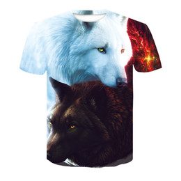cool pattern shirts men Coupons - Summer Men's T-Shirt 3D Print Pattern Wolf Cool Short Sleeve Round Neck Tops Refreshing Men's Animal T-Shirt Unisex Casual Tops