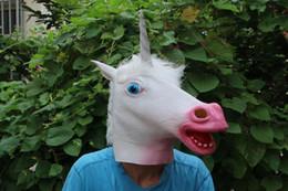 2019 gruselige einhornmaske Mens Halloween Einhorn Latex Kopfbedeckungen Männer Frauen Creepy Cosplay Masken Großhandel Halloween Kostüm Zubehör Kostenloser Versand günstig gruselige einhornmaske