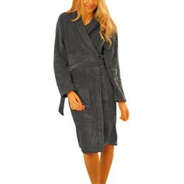 Wholesale Ladies Long Sleepwear - Wholesale-Ladies Coral Fleece Long Night-robe Sleepwear Shawl Collar Bathrobe Spa Clothes S72