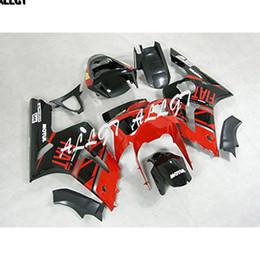 636 plastiques en Ligne-Kit de carénages de moto en plastique noir d'injection de noir d'ABS de flamme rouge pour Kawasaki Ninja ZX6R 636 2003 2004