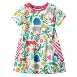 summer soft prints dresses Promo Codes - Summer Girl Cotton Dress Soft Unicorn Animals Party Dress INS Hot Sale Baby Clothing for Girl Princess Dress