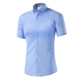 Фабричные прямые рубашки онлайн- New Short Sleeve Men Shirts Casual Hot Solid Male Shirts M-4XL Factory Direct Sale Wholesale 2019 Summer Big Promotion