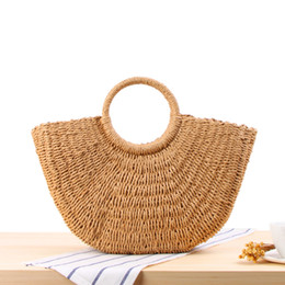 Wholesale Ladies Straw Handbags - Fashion Bag 2018 Bohemian Beach Straw Knitted Bags Women Summer Handmade Rattan Woven Handbags Lady Casual Travel Shopping Tote Bag Handbag