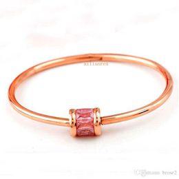 Wholesale Japan Gold Bracelet - Women Japan and South Korea plated 18K rose gold ice stone bracelet titanium steel bracelet women's fashion accessories