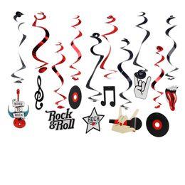 Hängende dekorationen für geburtstagsfeier online-Umweltfreundlich (10 Stück / Pkg) Rock Star Metallic Foil Hanging wirbelt Rock N 'Roll Whirls Musical Partydekoration-Geburtstags-Party