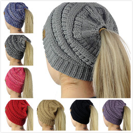Wholesale Hat Free Knitting Pattern - Fashion Creative Dome Knitted Wool Ponytail CC Hat Empty Top Hat Top No Elastic Hat Monochrome No Pattern