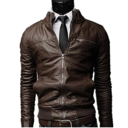 Wholesale Cool Male Jackets - Wholesale- Formal Autumn Winter Men Faux PU Leather Jackets Stand Collar Long Sleeve Zipper Pockets motorcycle Cool Punk Male Coat Outwear