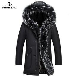 Wholesale luxury black velvet jacket - Wholesale-2017 winter new luxury high quality fur plus velvet thickening warm men's casual hooded down jacket large size parka coat 8896