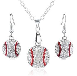 Любители бейсбола онлайн-Кристалл Бейсбол кулон серьги ожерелье ювелирные наборы мода спорт ювелирные изделия лучший друг подарок для команды клуб База любителей мяч KKA1805
