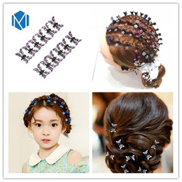 Wholesale Rhinestone Butterfly Hair Clip - M MISM Sweet Girls Hairpins 1lot=12 Hair Clips Kids Butterfly DIY Barrettes Shining Rhinestone Hair Claw Comb For Girls Birthday