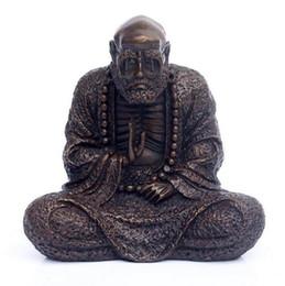 Statua tibetana online-Buddismo tibetano Bronzo Rame Dharma Bodhidharma Arhat Buddha Sit Statua