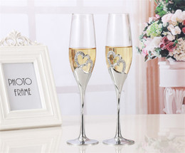occhiali da cristallo Sconti 2 pezzi / set Crystal Wedding Toasting champagne flauti occhiali Cup Wedding Party decorazione matrimonio tazza per il regalo Wine Drink