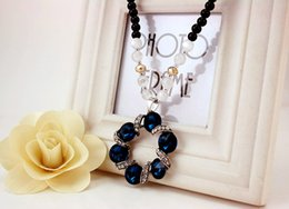 Wholesale Gold Chain Necklace Black Ribbon - Cute wreath necklace Creative classic glass crystal chain gemstone necklace Small circle with metal ribbon pendant