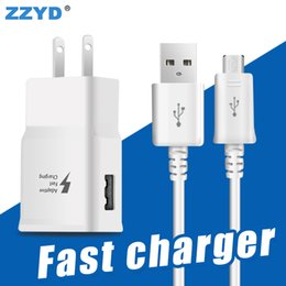 Wholesale Micro Usb Wall Plug - ZZYD Fast wall charger kit 2.1A Travel EU US Charger Plug 1.5M Micro USB Cable for Samsung S7 S6 S8 note5