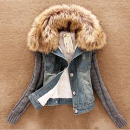 Giacca da donna autunno inverno blu militare cappotto collo di pelliccia di  jeans staccabile caldo rivestimento in pelliccia sintetica parka giacca  donna ... f21cd5ef6e54