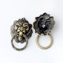 Wholesale Lion Handle - Free Shipping 2PCs Jewelry Wooden Box Pull Handle Dresser Drawer For Cabinet Door Round Antique Bronze Lion Face Carved 53x43mm