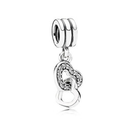Canada Gros Argent Double Coeur Balancent Charme Pendentif Perles DIY Bijoux Marquage Charme Fit Pandora Style Européen Bracelet Collier Femmes cheap wholesale pandora style bracelet Offre