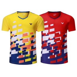 Wholesale Fast Suits - Victory badminton shirts, men and women short sleeved sportswear, tennis suits, quick drying, breathable, fast dry, free shipping