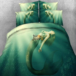 Wholesale quilts modern - 3D Mermaid Duvet Doona Quilt Cover Set Single Queen King Size Bed Pillowcase New Free Shipping