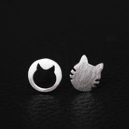 Wholesale Cat 925 Earrings - designer earrings jewelry fashion 925 sterling silver Meow star asymmetric Kitty female Simple Lovely cat china direct stud earrings bijoux