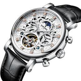 Wholesale Pin Sun - KINYUED Skeleton Automatic Watch Men Sun Moon Phase Waterproof Mens Tourbillon Mechanical Watches Top Brand Luxury Wristwatches