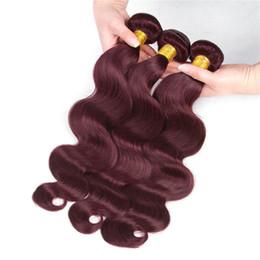 Wholesale Cheap Colored Hair Dye - Per-Colored 99J Brazilian Body Wave Weave 3Bundles Bold Red Cheap Human Hair Extensions Burgundy Hair Bundles Brazilian Virgin Remy Hair