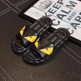 Wholesale Sandals For Plastic - 2018 Designer Sandals FEND Summer Luxury Slipper for Men Black Beach PVC Slides Men Slippers Designer Shoes