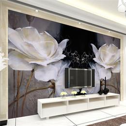 Wholesale Modern Magnolia - European bedroom TV background wallpaper wall murals modern simple European oil painting seamless nonwovens black warm magnolia flowers