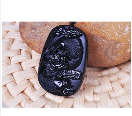 Wholesale Natural Hand Carved Stones - handmade natural Obsidian stone Hand carved fish with Lotus good luck pendant